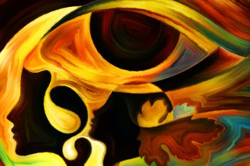 abstract painting of eye and profiles of women