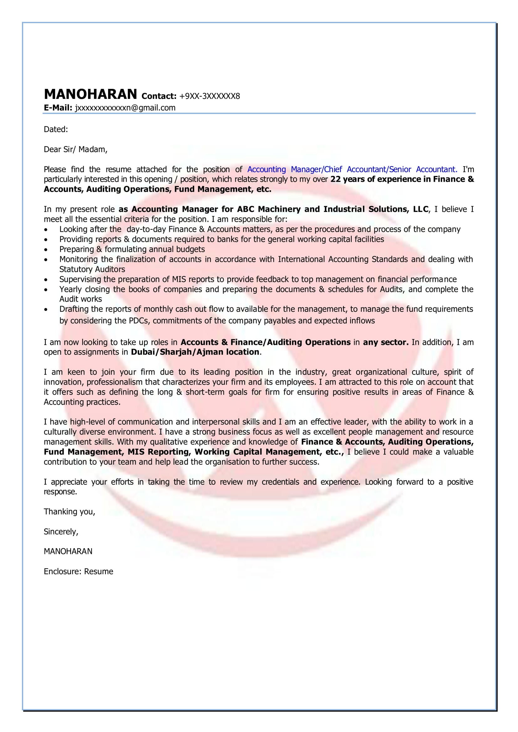 Accounting Sample Cover Letter Format Download Cover