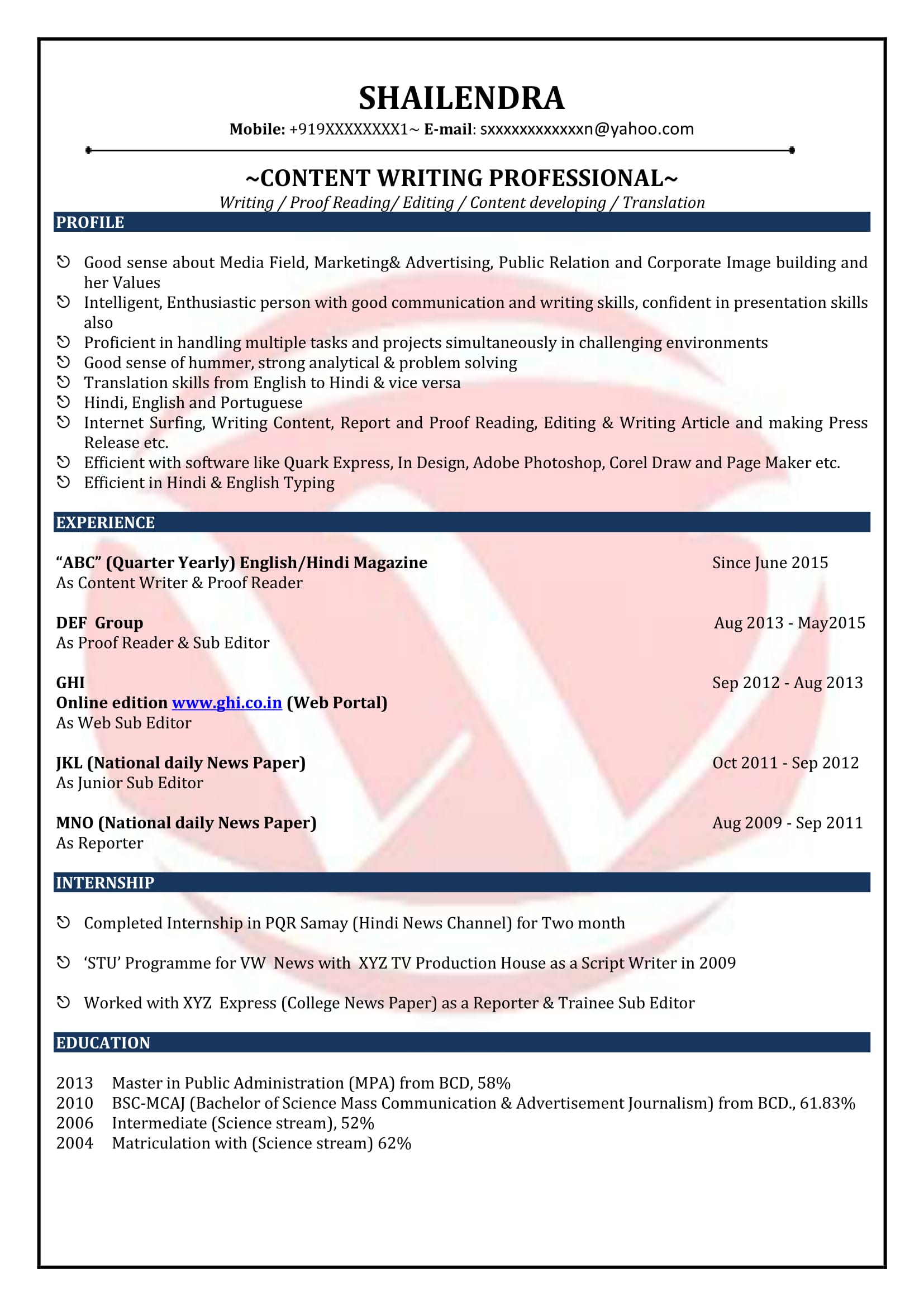 resume format for news editor