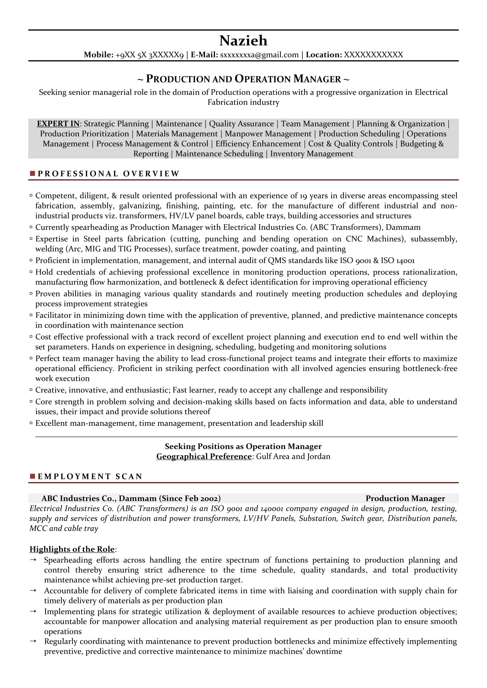 Production Manager Sample Resumes Download Resume Format