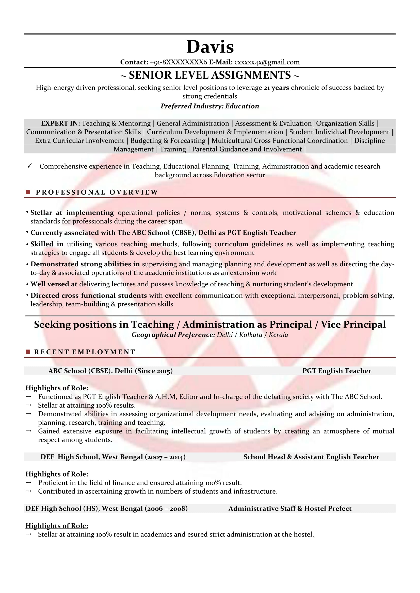 Teacher Sample Resumes Download Resume Format Templates