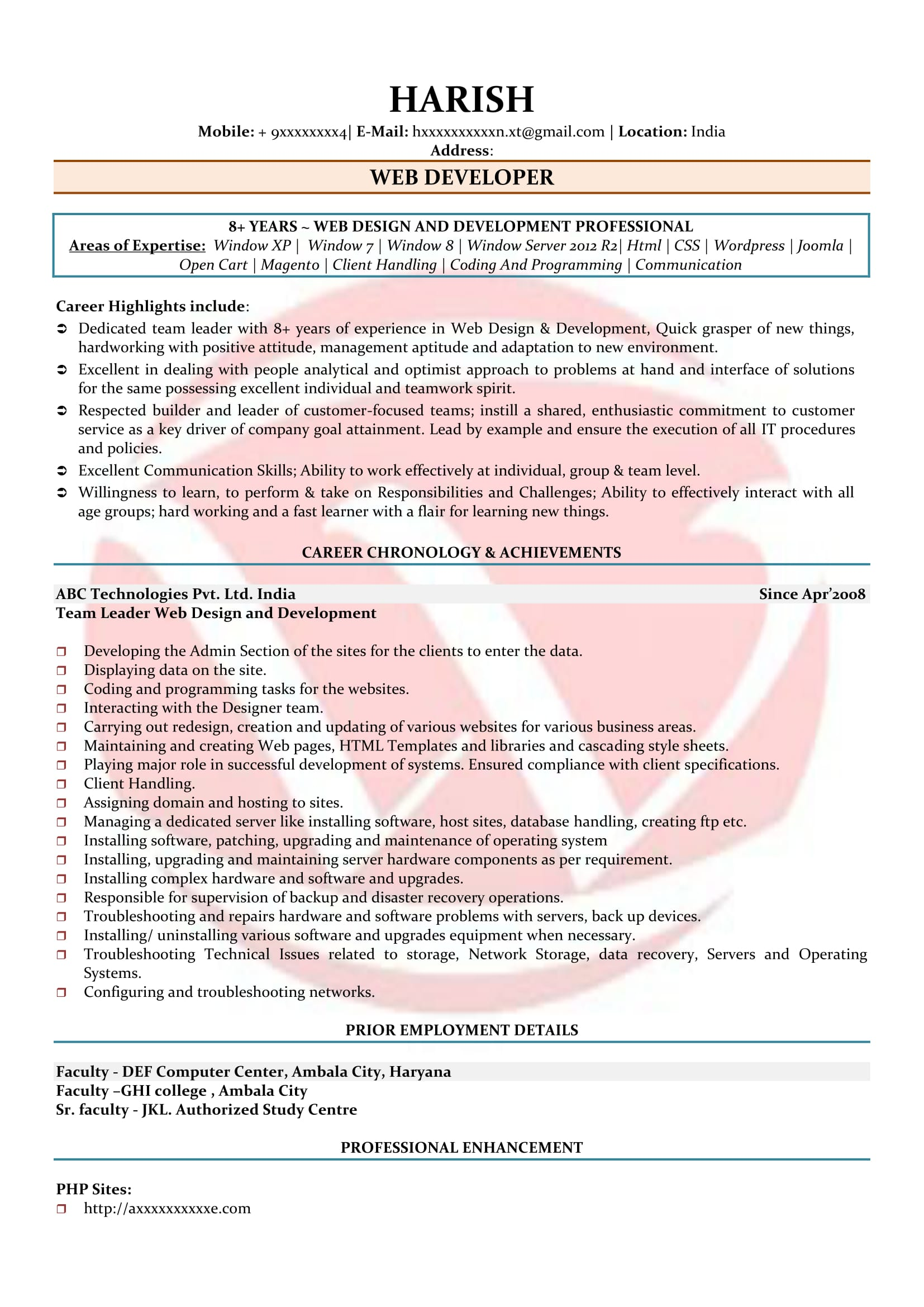 software faculty resume sample
