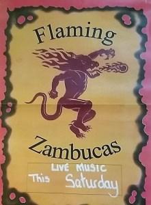 Flaming Zambucas at The Ship