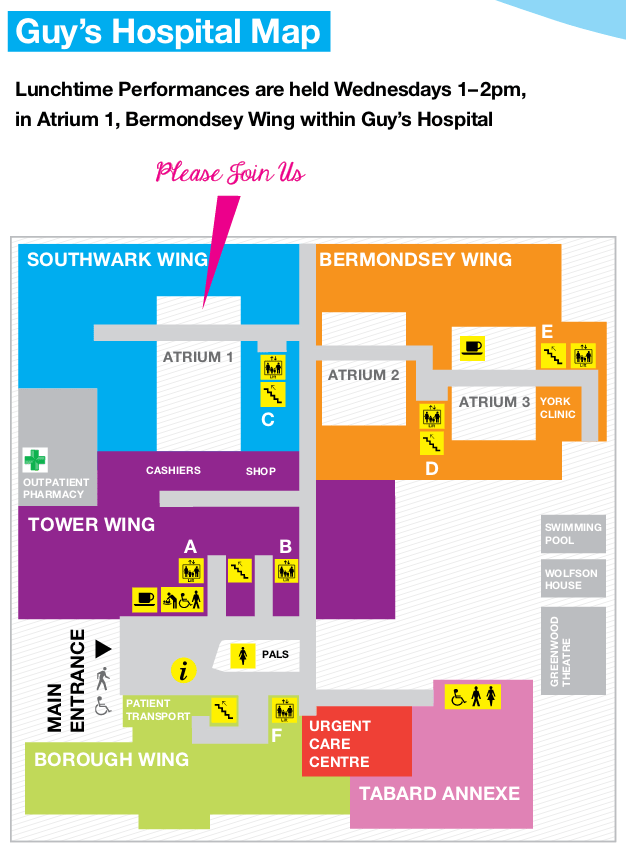 Guy's Hospital Concerts Map