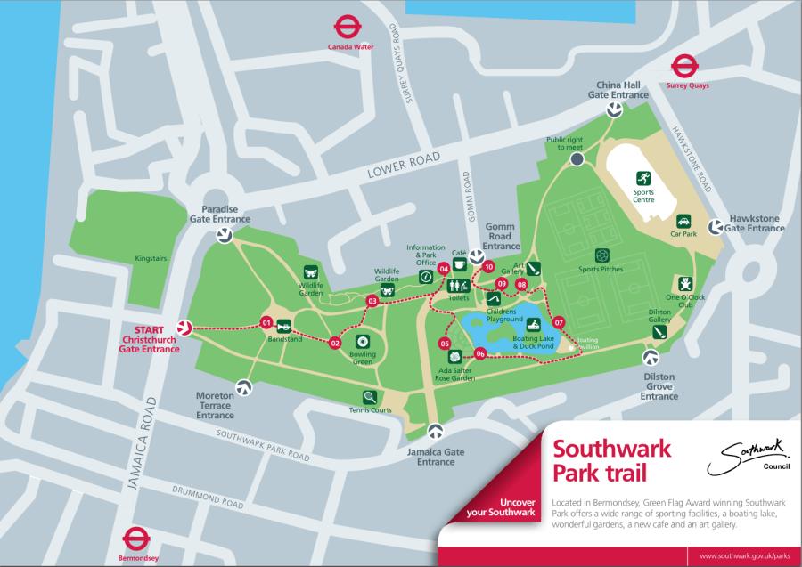 Southwark Park Trail Map 1