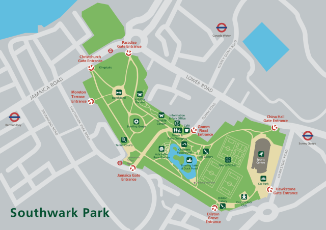 Southwark Park Map