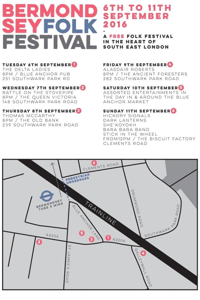 Bermondsey Folk Festival 2016 venues