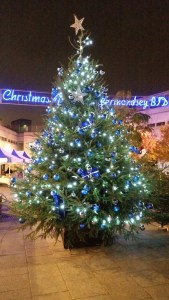 Blue Bermondsey Christmas tree at Market place