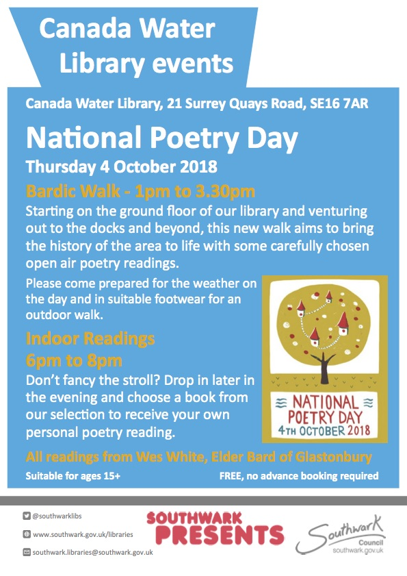 National Poetry Day 2018 at Canada Water Library