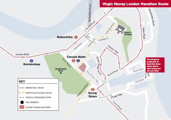 Virgin Marathon 2019 Rotherhithe Road Area Road access map