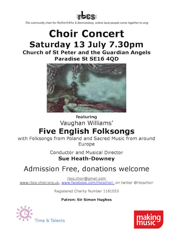 Rotherhithe and Bermondsey Choral Society Community Choir Summer Concert 2019