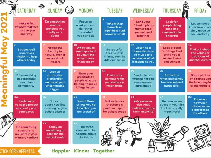 Action For Happiness Calendar May 2021