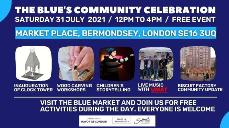 Poster of activities for The Blue's Community Celebration