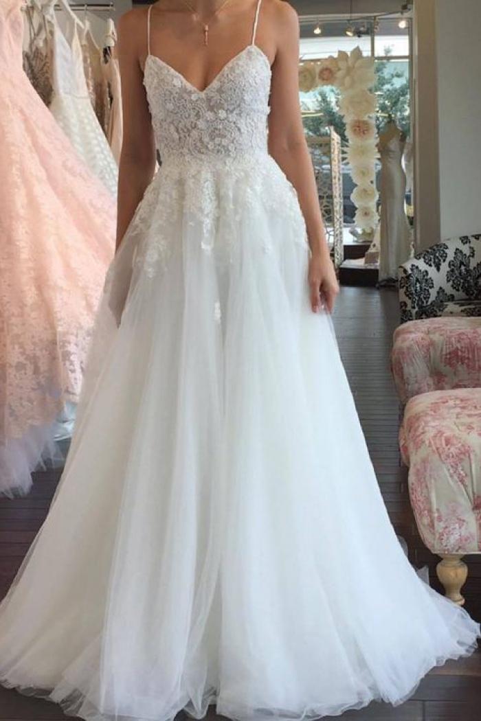 Aline Romantic Tulle Lace Sleeveless SpaghettiStrap Wedding Dress  Wisebridalcom