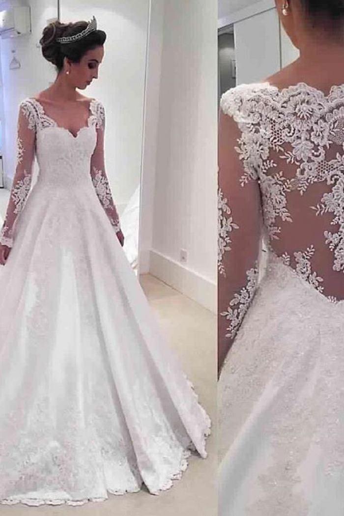 Long Sleeve Vneck 2018 Wedding Dresses Online Sheer Lace