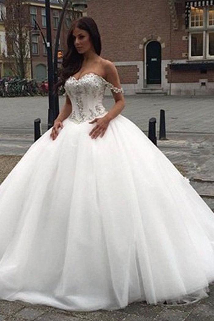 off the shoulder princess wedding dress 2018 sweetheart crystals ball gown bride dress 0