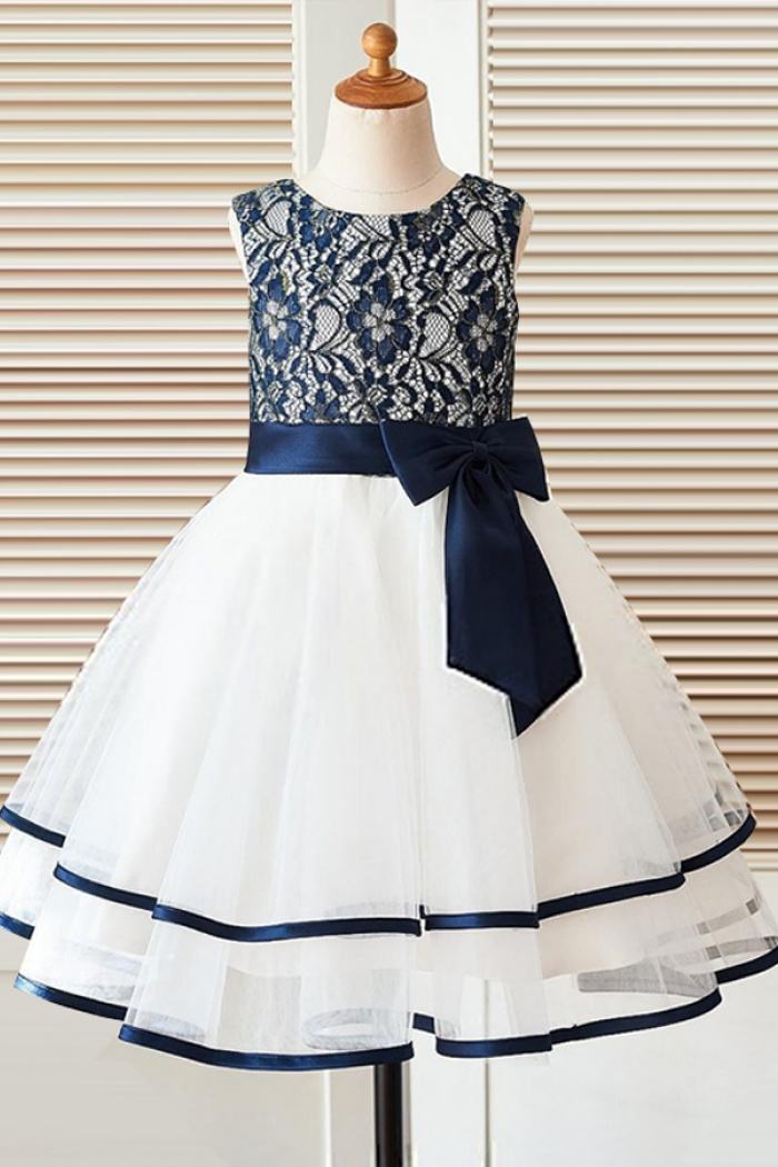 ALine Round Neck White Flower Girl Dress with Navy Blue