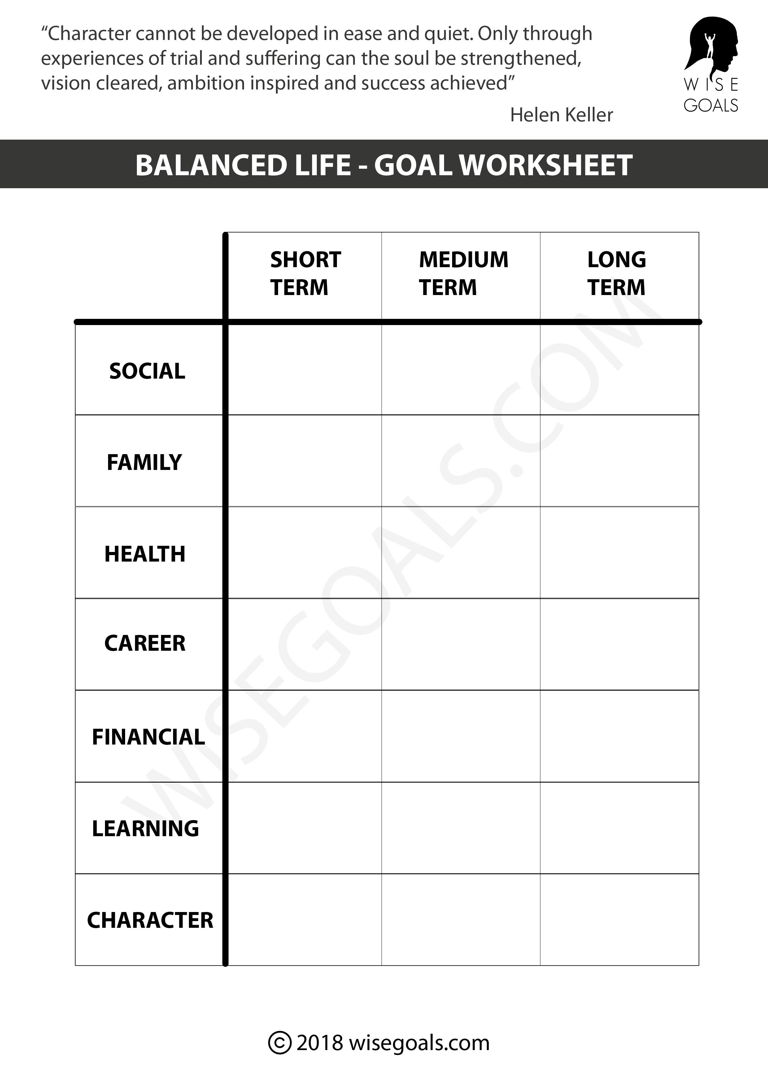 5 Personal Goal Setting Worksheets Printable
