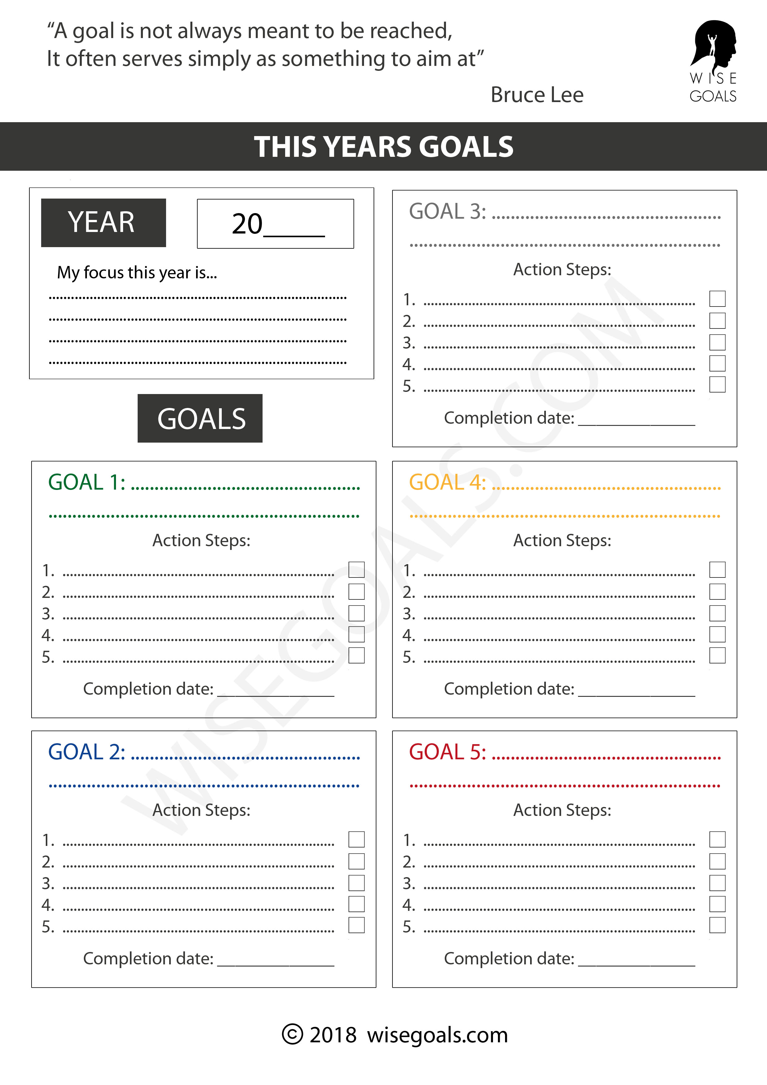 Self Improvement Goals Worksheet