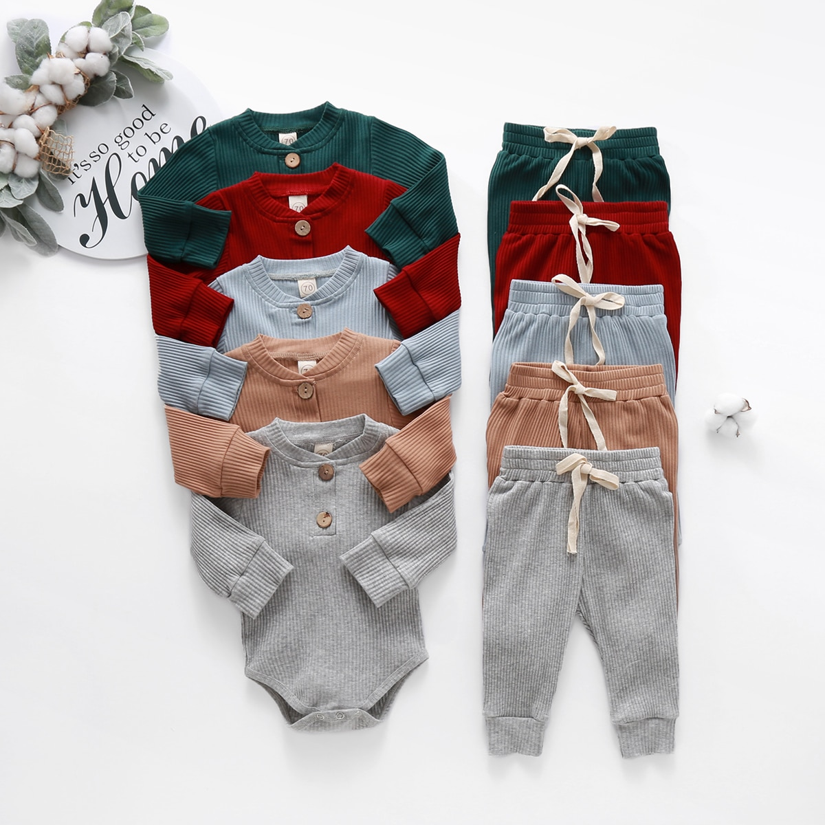 Baby Solid Clothes Long Sleeve Romper and Pants Set | Get Now Fast |