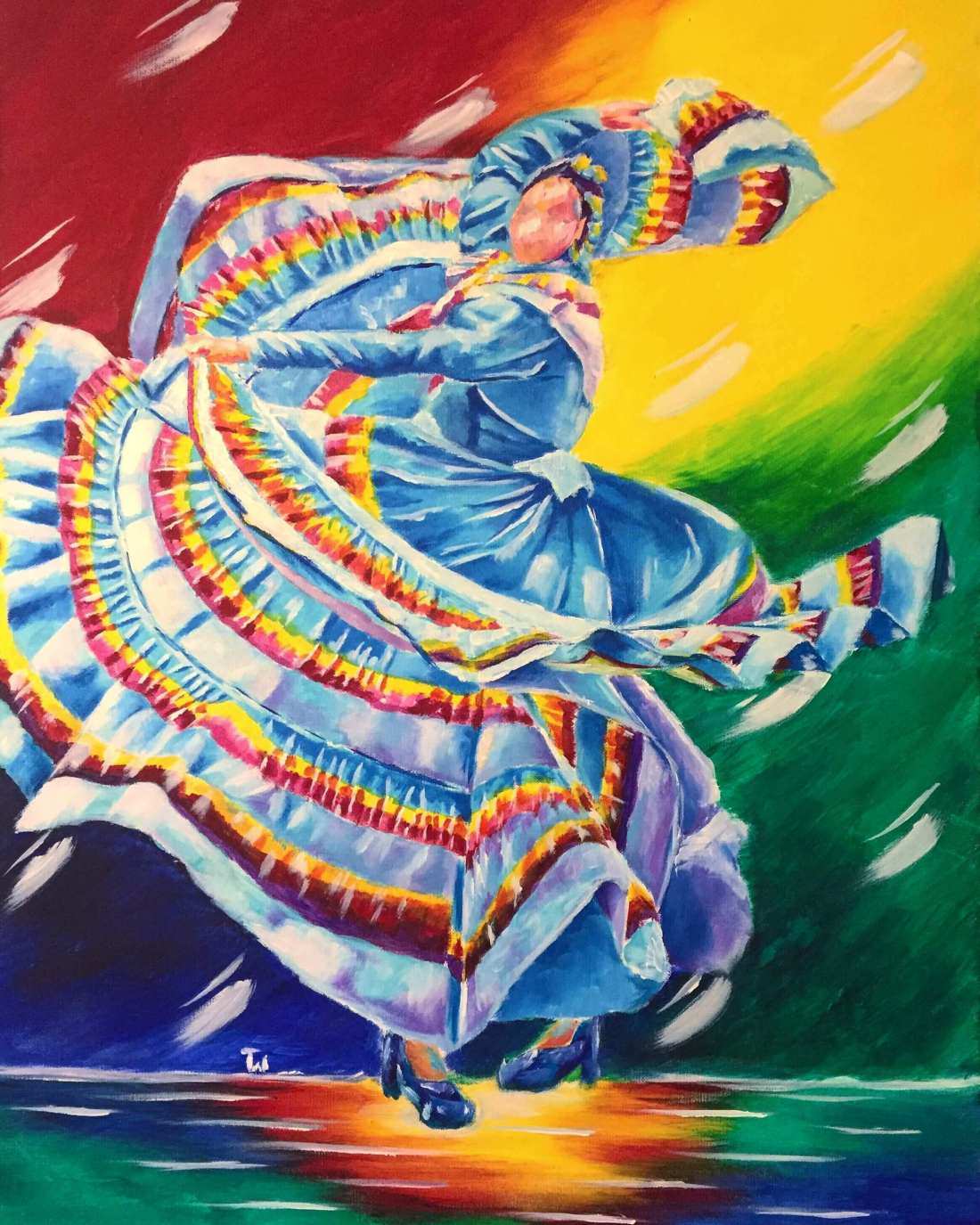 Impressionistic Painting of Folklorico Dancer