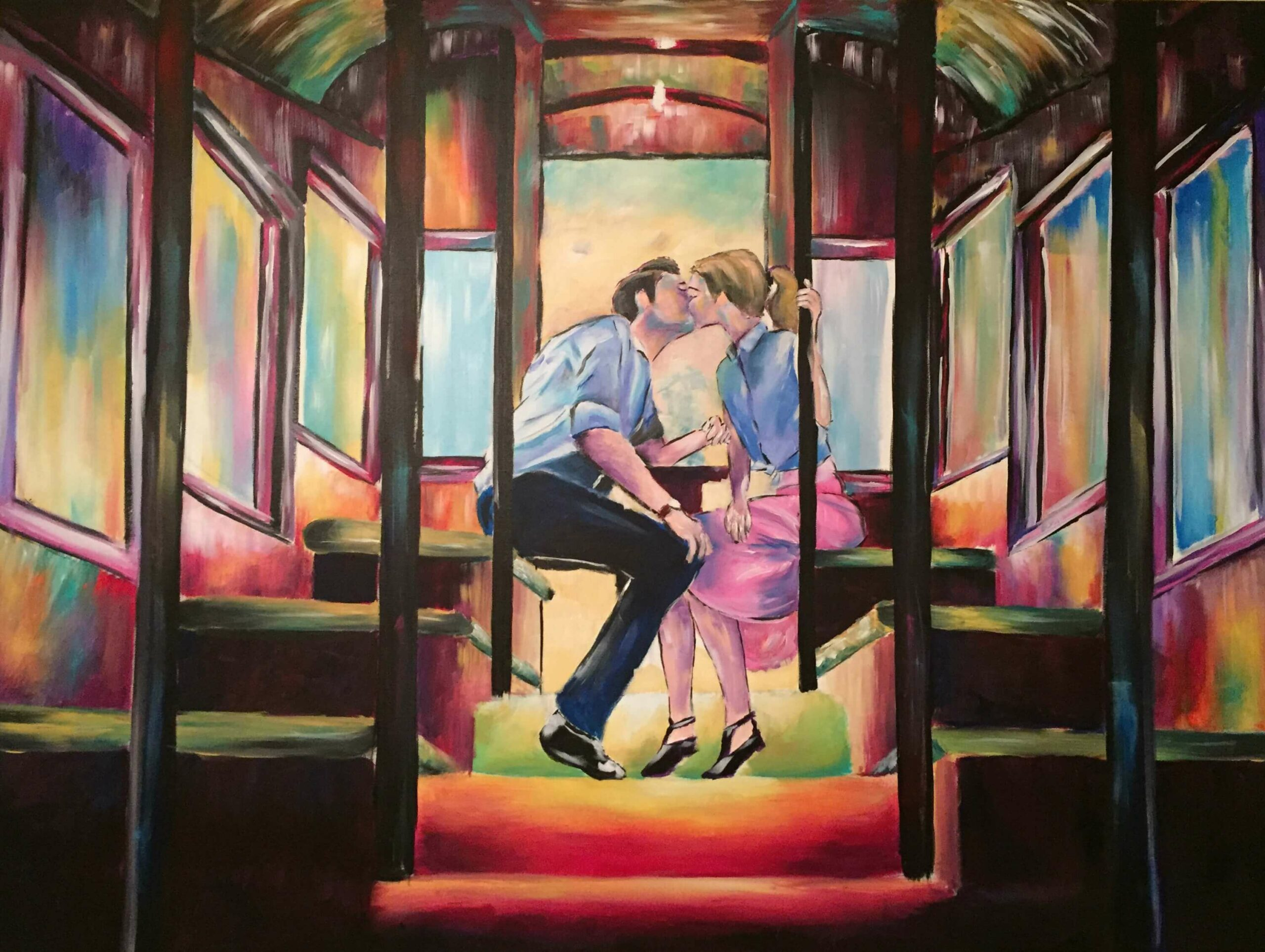 Box Car Love 36x48 Acrylic on Canvas by Taylor Wise