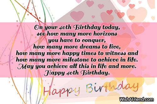 40th birthday wishes page