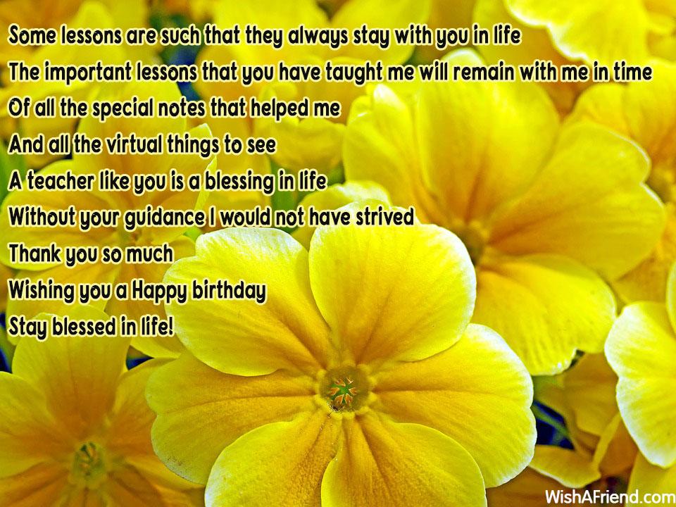 birthday messages for teacher
