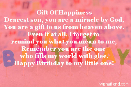 Gift Of Happiness Son Birthday Poem