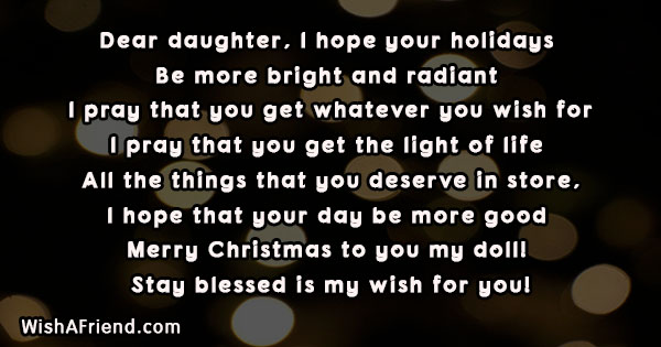 Dear Daughter I Hope Your Holidays Christmas Message For Daughter