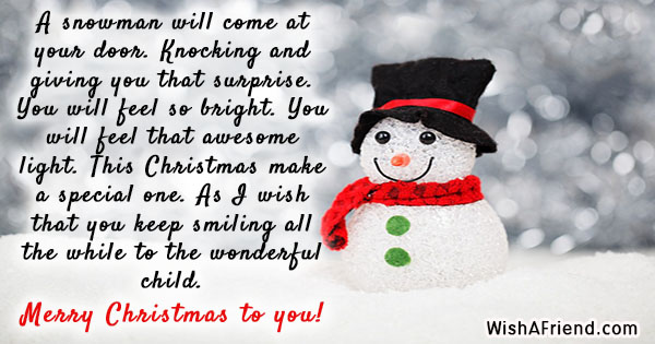 A Snowman Will Come At Your Christmas Message For Kids