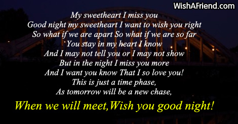 My sweetheart I miss you  Good Night Poem for Him