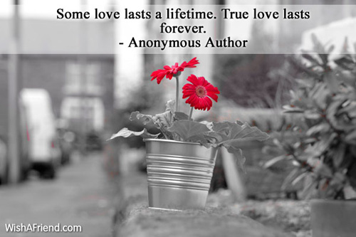 Anonymous Author Quote Some Love Lasts A Lifetime True Love Lasts Forever