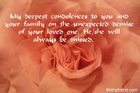 my deepest condolences to