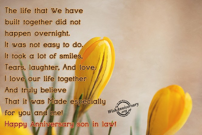 Wedding anniversary wishes to daughter and son in law the best