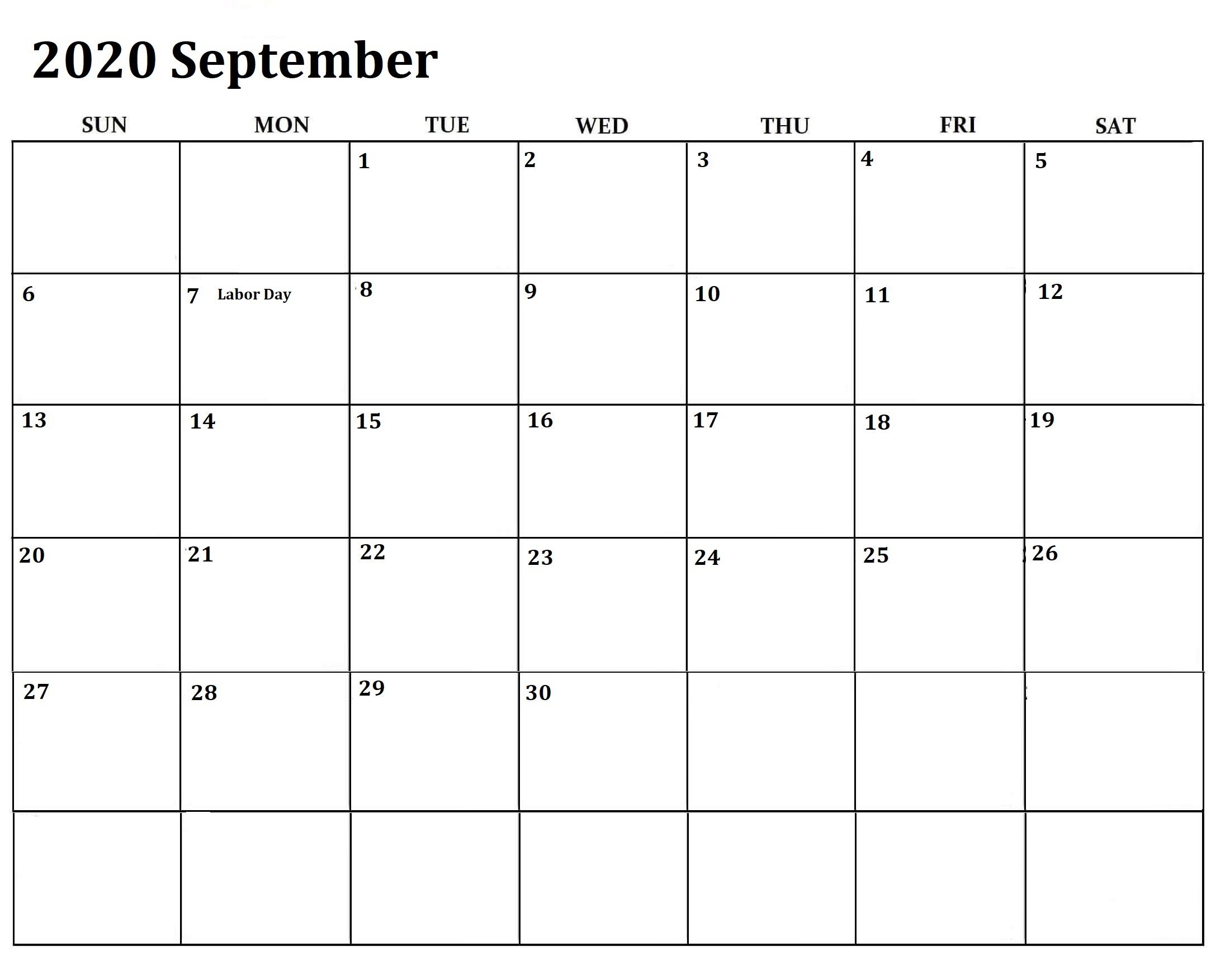 September Printable Calendar Weekly Worksheets