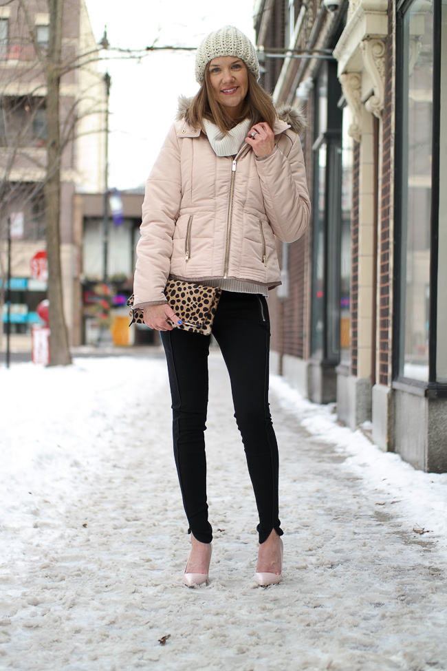 Blush Puffer Coat And Heels Wishes Amp Reality