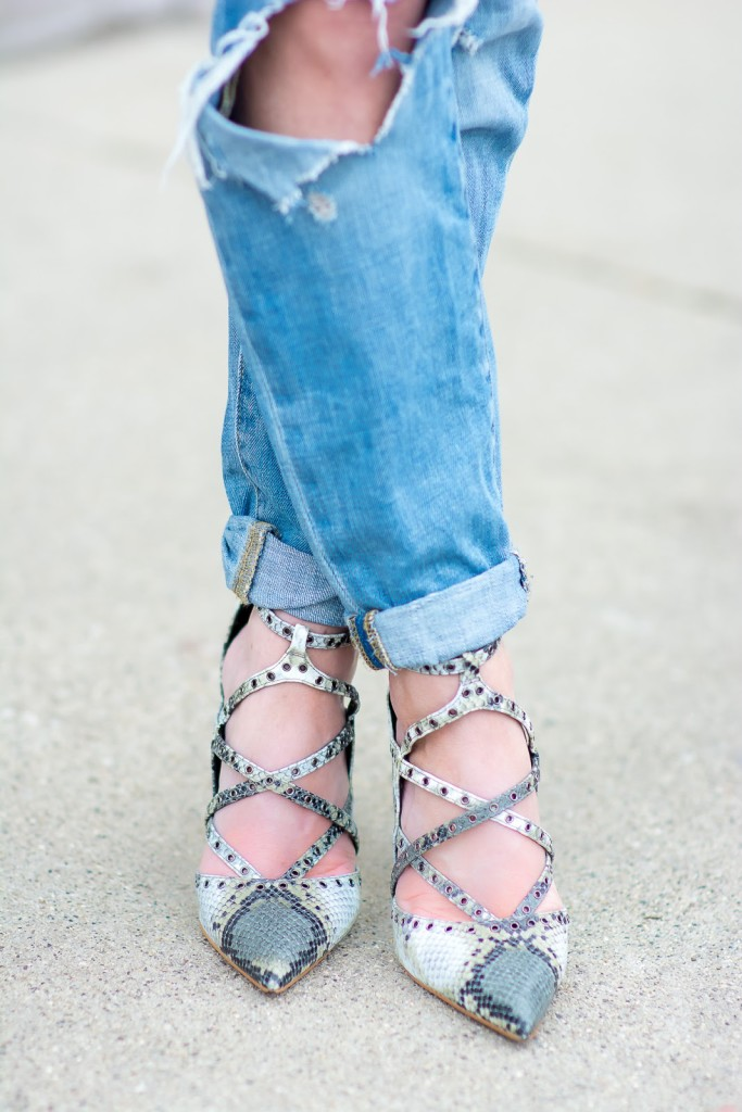Target distressed boyfriend jeans, Zara snakeskin heels, strappy heels, casual dressy outfit, streetstyle
