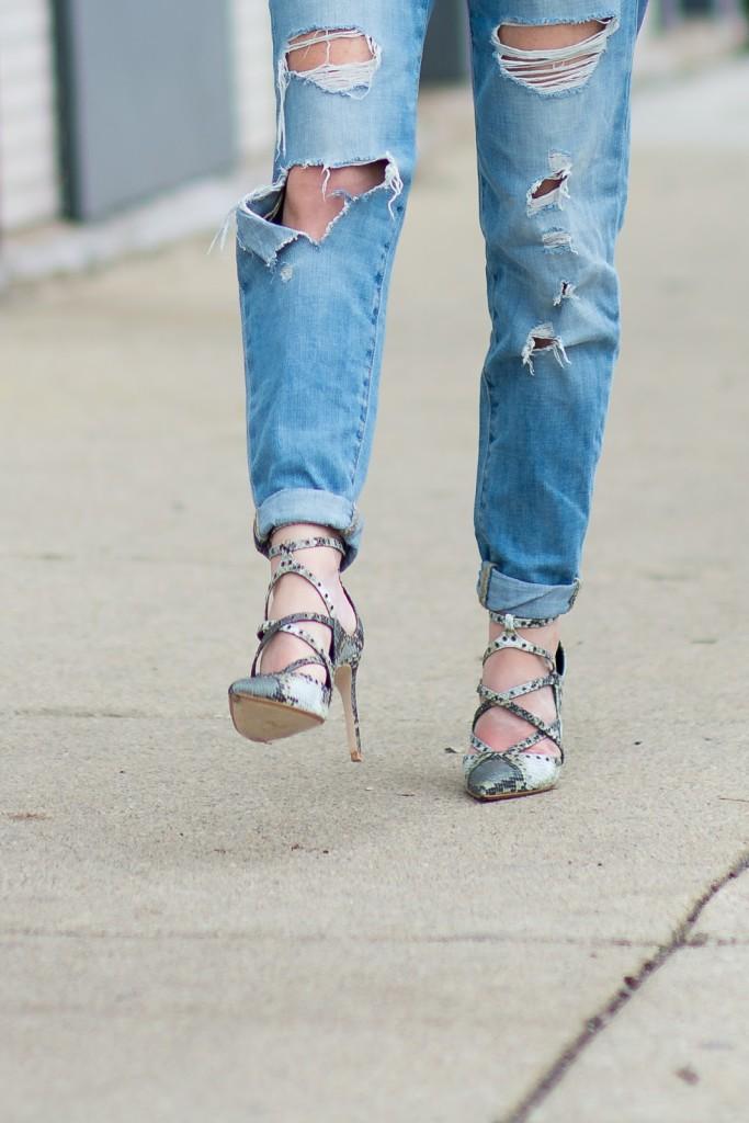 Target distressed boyfriend jeans, Zara snakeskin heels