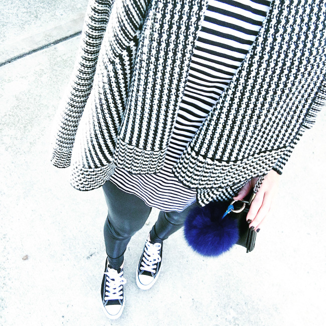 black and white stripes on black and white stripes, faux leather leggings, wearing converse with leather leggings, royal blue pompom