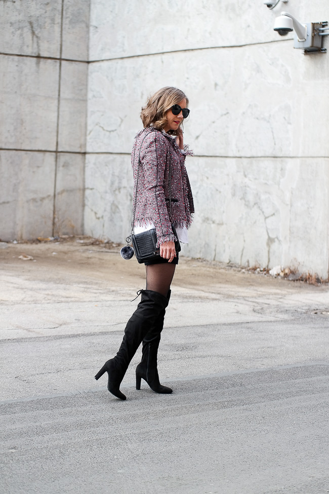 cropped fringe jacket, tailored shorts and over the knee boots