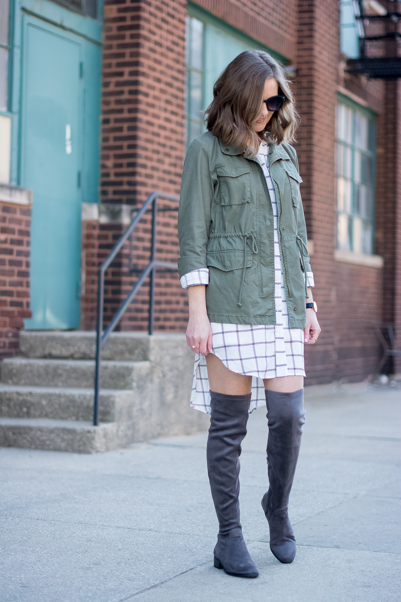 old navy cargo jacket, black and white grid print shirtdress, gray over the knee flat boots, simple jewelry