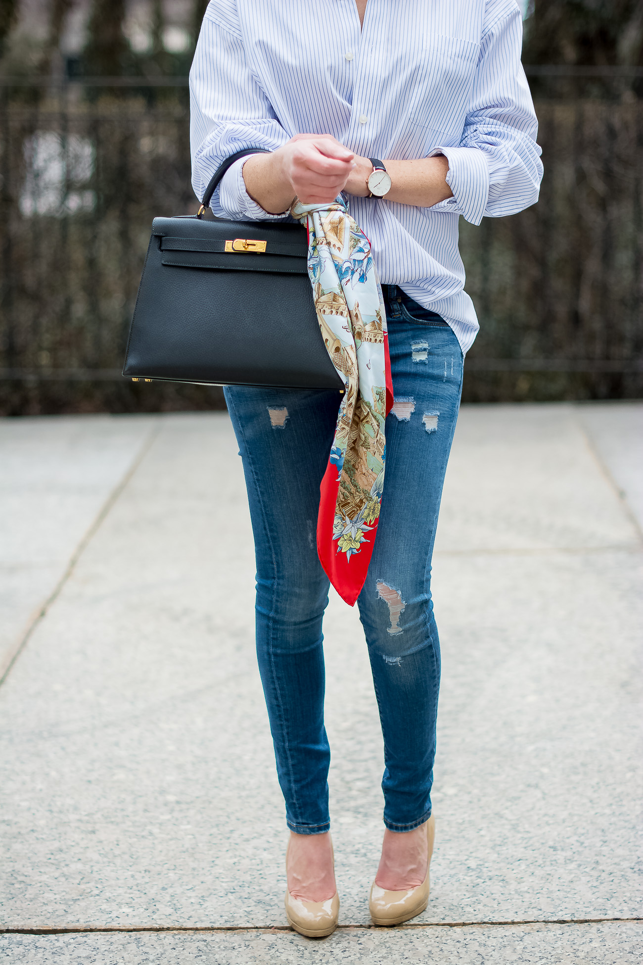 -hermes-kelly-bag-casual-outfit-hermes-vintage-scarf-oversized-pinstripe-button-down-distressed-skinny-jeans-blank-nyc-LK-Bennett-nude-pumps-classic-casual