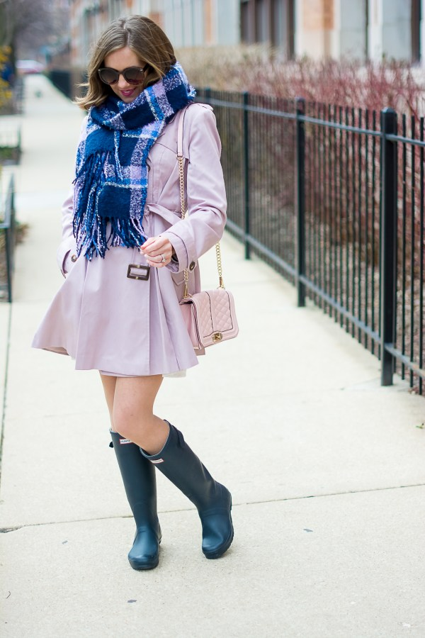 Asos Pink Skater Trench With Pleates Navy Hunter Rain