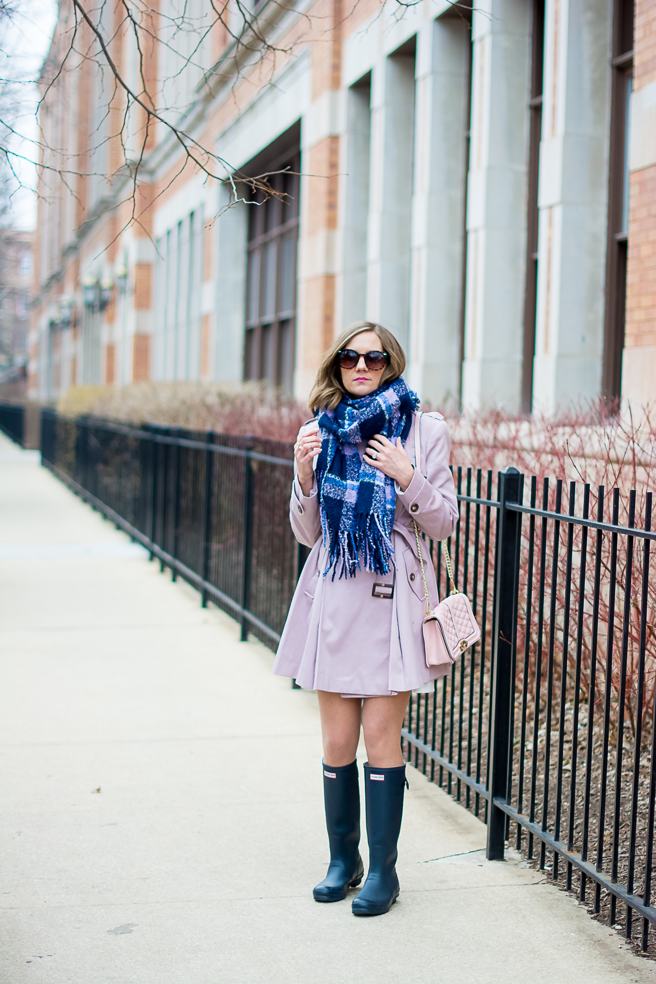asos pink skater trench with pleates, navy hunter rain boots, plaid scarf, pink rebecca minoff love crossbody