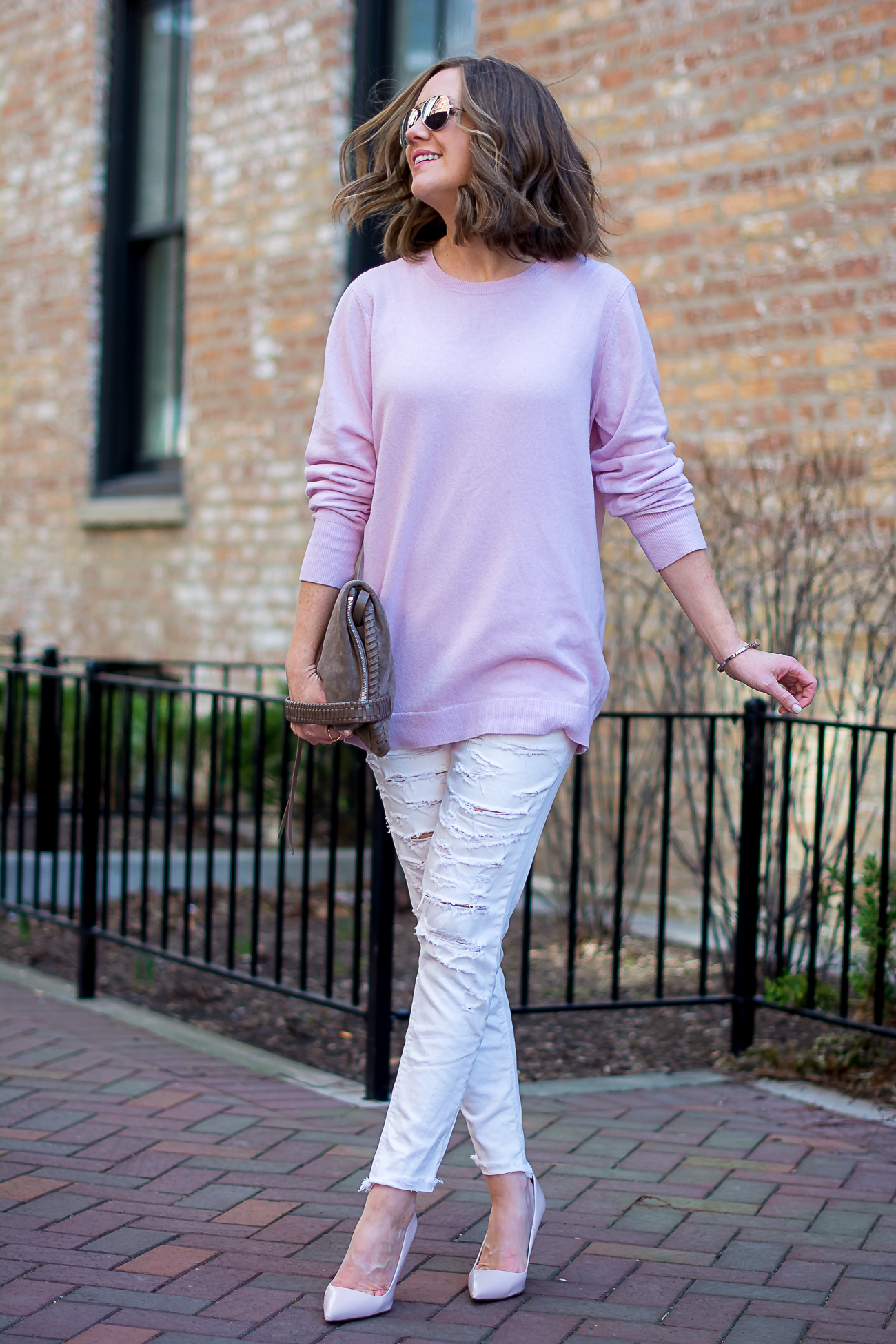 banana-republic-oversized-pink-wool-sweater-american-eagle-distressed-skiny-jeans-blush-heels-all-saints-convertible-clutch-simple-spring-pastels