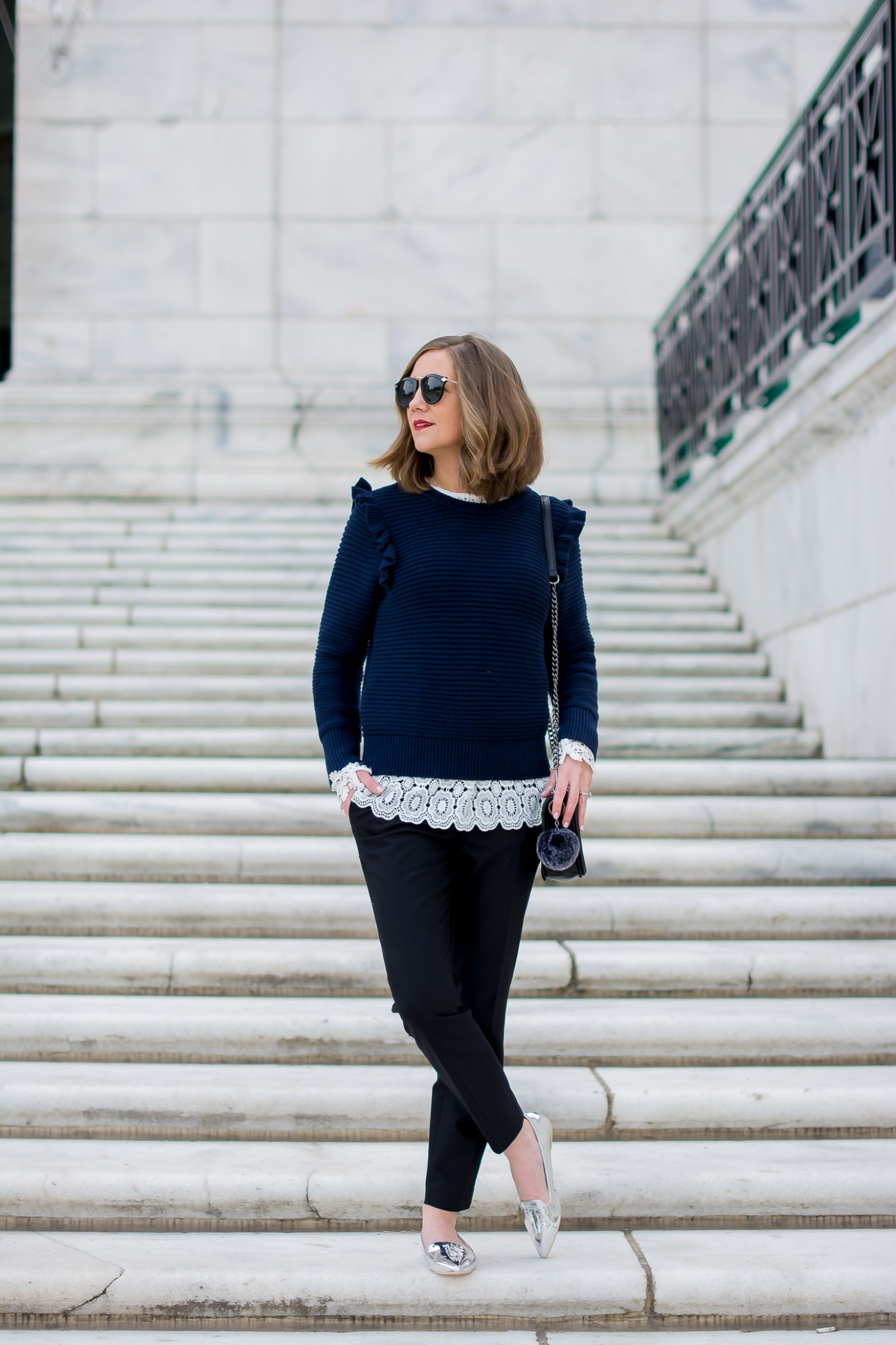 banana-republic-ruffle-shoulder-sweater-shein-lace-top-black-express-ankle-pants-asos-silver-tassel-loafers-office-appropriate-lace-and-ruffles