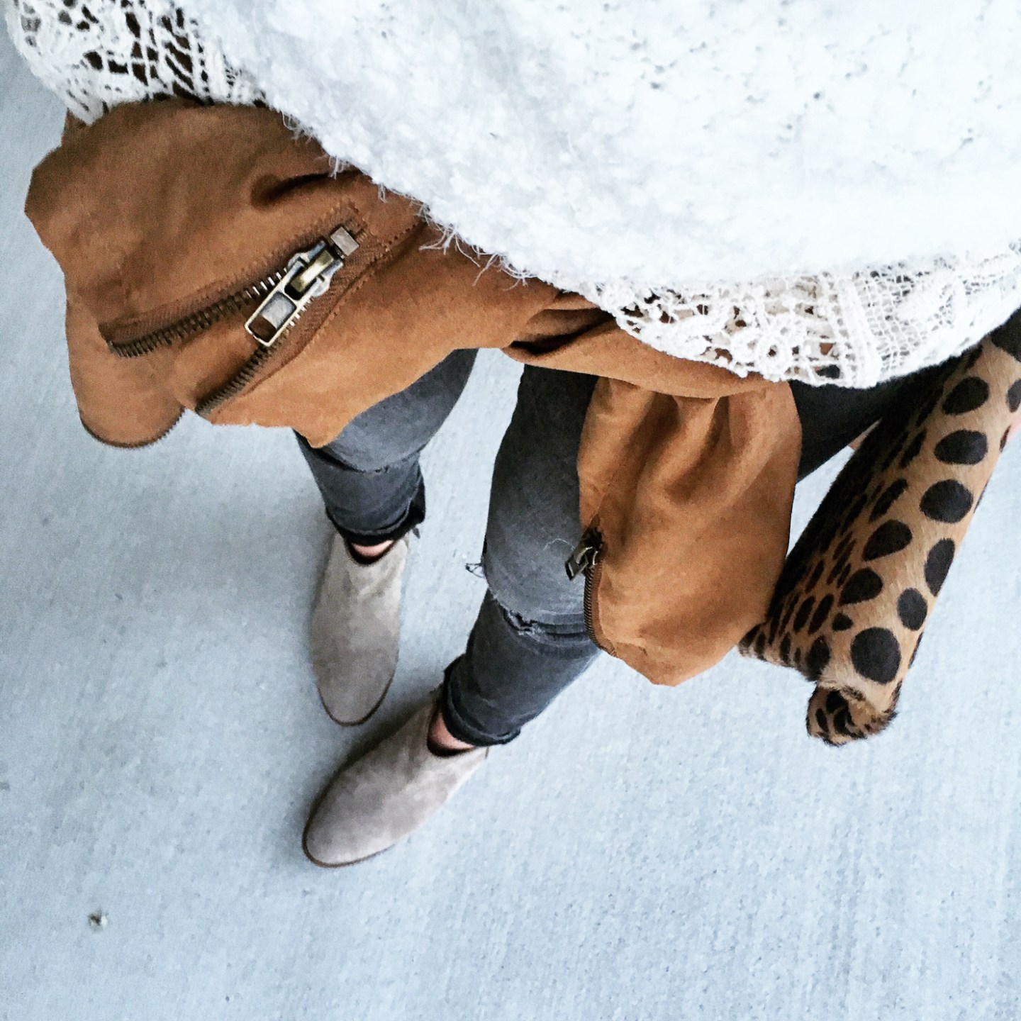 grey jeans, taupe sam edelman booties, lace blouse, suede jacket ties around waist, spring layering, street style