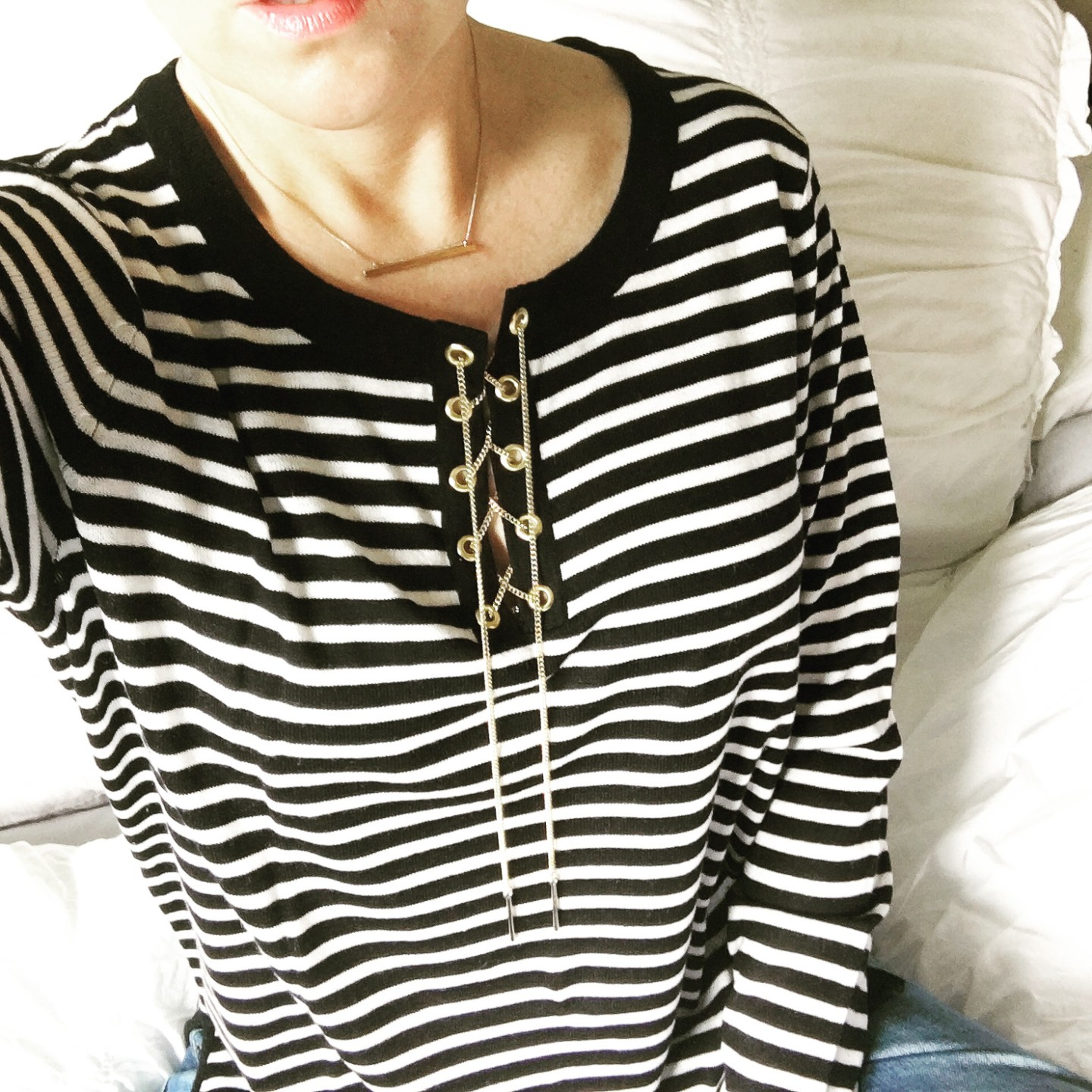 avec-striped-chain-lace-up-sweater