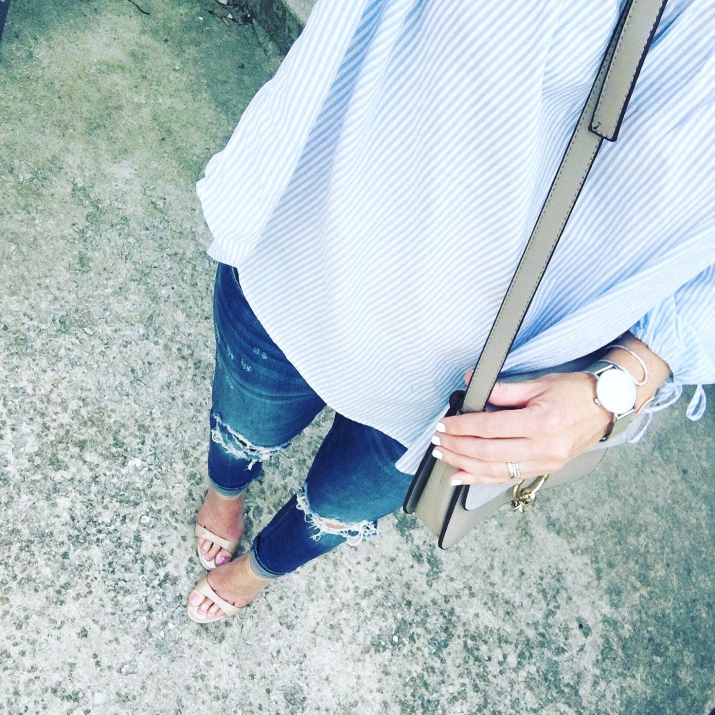 instagram-blue-and-white-off-the-shoulder-tie-sleeve-blouse-distressed-jeans-chloe-dupe-nude-sandals-kapten-and-son
